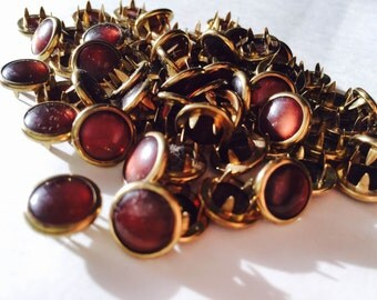 NEW! Limited Edition 24 GOLD RIMMED Warm Brown Cowgirl Snaps Pearl Prong Western Snaps