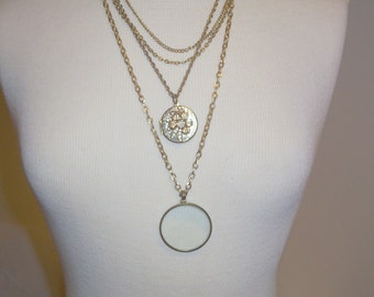 Handmade Upcycled Magnifier Necklace with a Vintage Locket