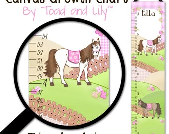 Canvas GROWTH CHART Shabby Pink Horse Pony Girls Kids Bedroom Baby Nursery Wall Art GC0015