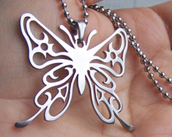 Butterfly -  stainless steel pendant on ball chain  womens necklace .