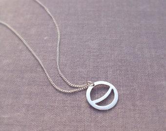 Sterling Silver Crescent Moon Circle Pendant. Minimalist. Geometric. Circle. Small version