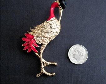 Vintage Stork Brooch, Dress Pin
