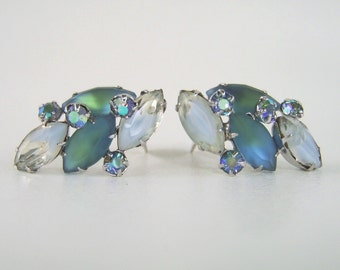 Vintage Coro Givre Rhinestone Earrings Blue Green AB Stunning