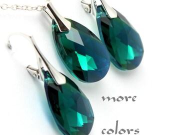 Emerald Jewelry Set, Necklace Earrings, Pear Swarovski Crystal Sterling, Modern Minimalist Jewelry, Bridesmaids Wedding Bridal, Choose Color