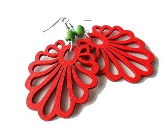 Red and Green Wooden Fan Earrings, gypsy, boho