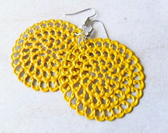 Yellow Hand Painted Filigree Earrings