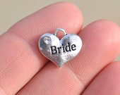 5 Silver Bride Heart  Charms SC1402