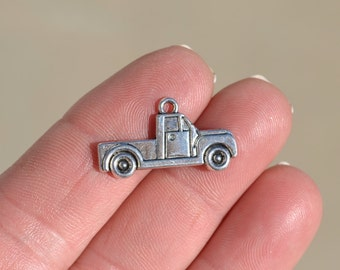 10 Silver Pick Up Truck Charms SC3907