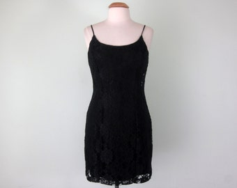 90s black lace mini slip holiday party cocktail dress (s - m)