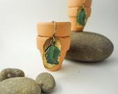 Verdigris Leaf Earrings, Woodland, Rustic Patina, Jade, Turquoise, Rustic Leaf, Green, Dainty, Gardener, Naturalist
