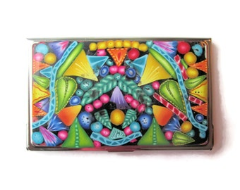 Business Card Case, Credit Card Case, Metal Card Case With Intricate Multicolor Design