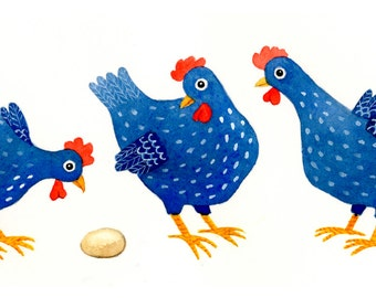 Print from my original watercolor of three blue chickens and an egg