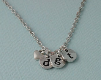 Personalized Initial Charm Necklace, Personalized Initial Jewelry, stamped letter necklace