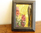 ATC Card One Of A Kind OOAK Lace Framed Collage Mixed Media Art Lace up Stocking Flowers Purple Yellow Black #20
