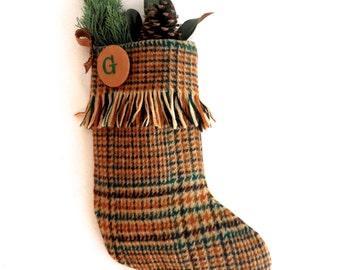 Vintage Wool Glenfiddich Stocking with Suede Trim - Monogram
