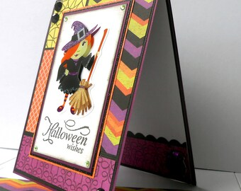 Halloween Card with Matching Embellished Envelope - Witch with 'Tude