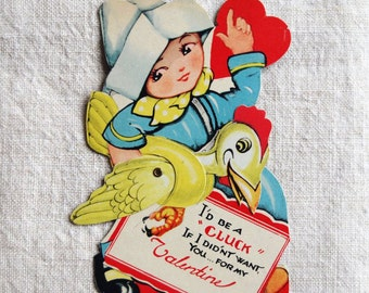 vintage Valentine's Day card, movable parts, boy with chicken