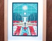 Marjorie McNeely Conservatory, Sunken Garden, Poinsettia print
