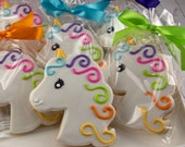 Unicorn Cookies, Princess Cookies - 12 Decorated Sugar Cookie Favors