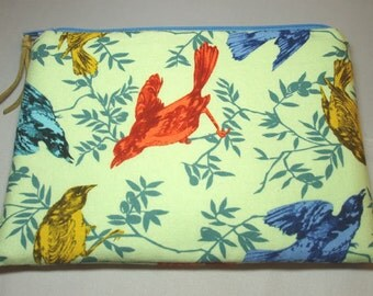 Large Padded Cosmetic Zipper Pouch in Chatterbox Bird Print