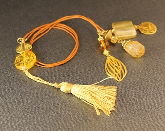 Gorgeous Golden Three Strand Leather Beaded Bookmark - Leather Cording with Beads in Yellows and Gold