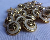 Gold Flower Center with Pearlized and Gold Rim Button, Novelty Button, Fancy Buttons, Craft Buttons, Scrapbooking Supplies,  27 Pieces