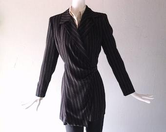 Byblos Pinstriped Jacket - Asymmetrical Tie Front - sz 42 US 6 - Japanese Minimalist Style - 1980s Vintage