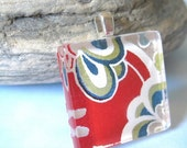 70% OFF Square Glass Tile Pendant Necklace in Rainbow Flower.  Japanese Chiyogami Asian Paper and Handmade Glass Tile.