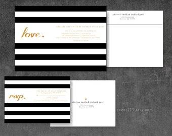Stripes Wedding Invitation   Modern Black & Gold Invitation with RSVP Card and Envelopes with Return address Printed