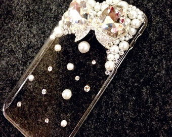 apple iphone 5S, 6G 6 plus, 7 case, crystalized bow with pearl and crystal accents