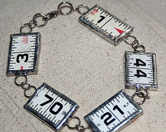 charm bracelet from a vintage ruler,bracelet numbers jewelry, accessories, coolvintage, gorgeous, looks great, unique, UA