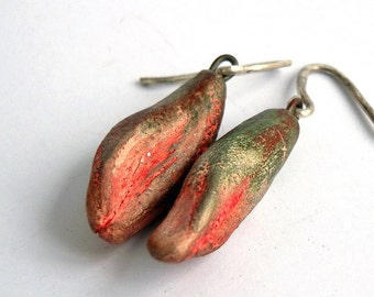 ceramic earrings, handmade ceramic beads, Jewelry beads, dangle, pods beads, cool vintage, jewelry art, looks great, unique,