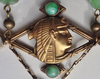 ON SALE--Egyptian Revival Necklace  Jade Green