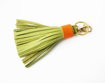 Leather Tassel Keychain Green Orange Tassel Key Ring With Clasp Gold Accessorie For Bag Tassel Charm Gift for Her