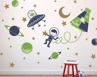 Space Boy Wall Decal Sticker Outer SpaceWalk for Children Nursery