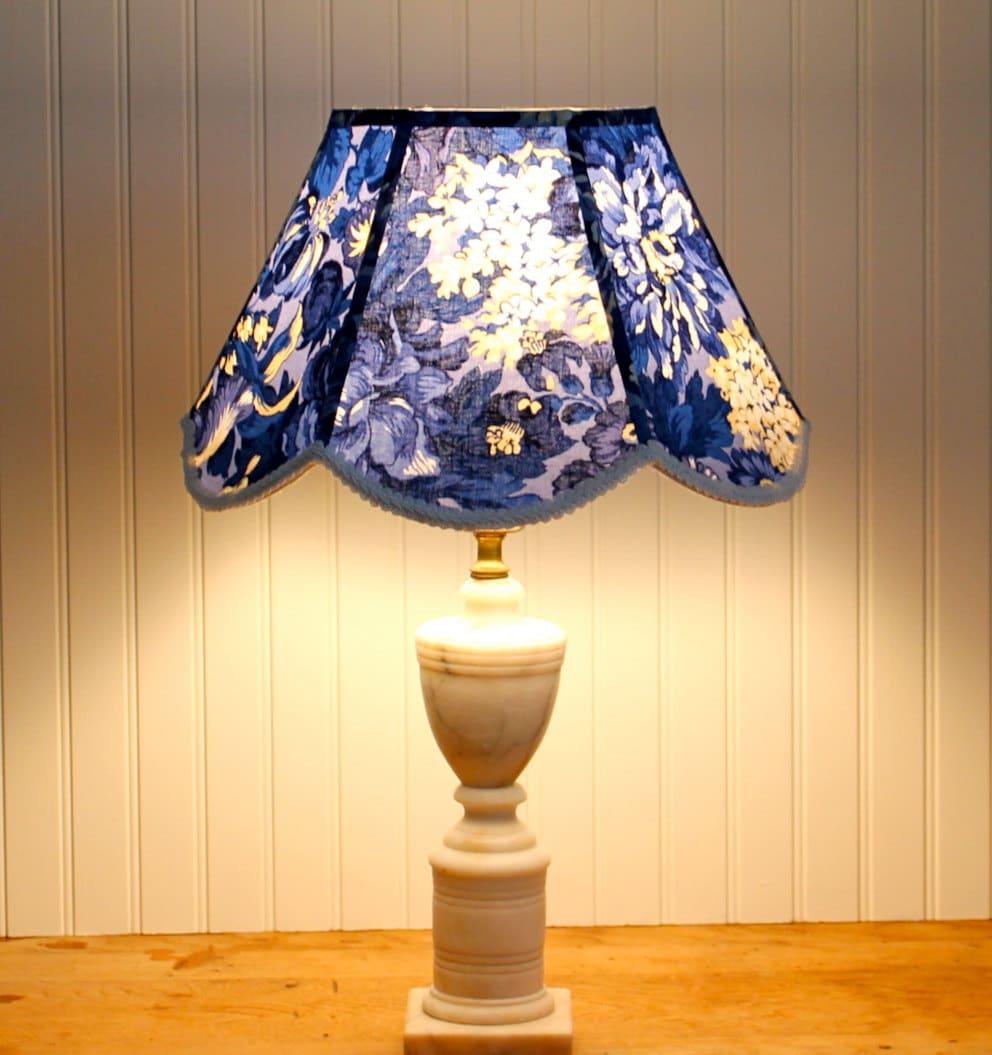 Large Blue Lamp Shade: Blue Floral Lamp Shade / Blue Lamp Shade / Lampshade / Scallop