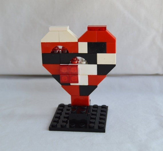 Lego Knick Knack Decoration Geekery Novelty Tchotchke Red White Black Lego Heart Business Card Holder Cake Topper