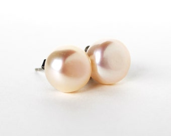 Peach fresh water cultured bouton pearl post earrings