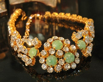 Made in Austria Collar Necklace, Vintage Bride, Large, Structured, Brilliant Crystals, Green Givre Art Glass, Like New