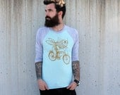 Goldfish on a Bike - Unisex American Apparel Raglan Baseball Tee Shirt
