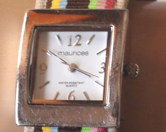Vintage  Maurices Wrist Watch Silver Tone And Cuff Bracelet Multi Color Cuff. Working with new battery