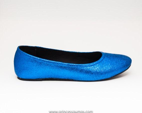Blue Glitter Flats