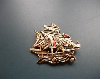 Vintage Damascene Clipper Ship Brooch Pin