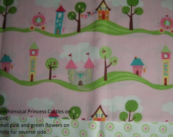 18-Inch Doll Comforter and Pillowcase - Princess Castles and Carriages - Made-To-Order