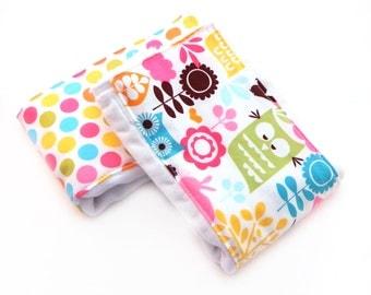 Girl Burp Cloths, Dots Owls Burp Cloth  // Diaper Burp Cloths // Cotton Burp Cloth // Baby Shower Gift // Pink Burp Cloth // Newborn Gift