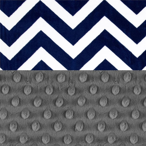 Minky Blanket Adult, Personalized Blanket, Gray Navy Chevron Throw, Minky Throw Blanket, Twin Blanket, Personalized Gift, Kids Minky Blanket