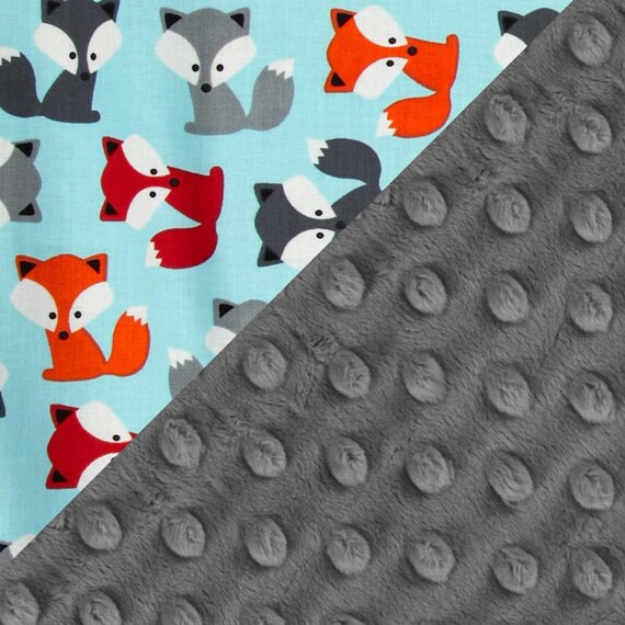 Personalized Baby Blanket Foxes Baby Minky Blanket Boy Fox Lovey  Cotton Gray Blue Baby Blanket / Mini Baby Blanket / Baby Shower Gift
