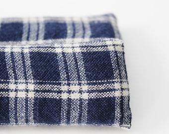 Sleep Aid, Lavender Relaxation Sachet, Rustic Bedroom Decor, Navy Blue Tan Plaid