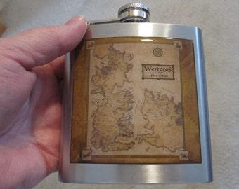 Map of Westeros  6 Ounce Liquor Hip Flask