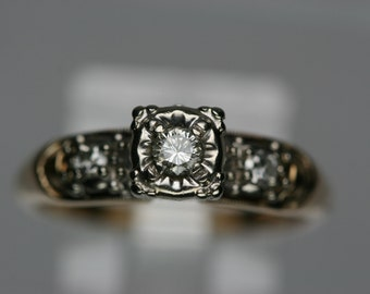 Vintage 14k YG and WG Diamond Ring